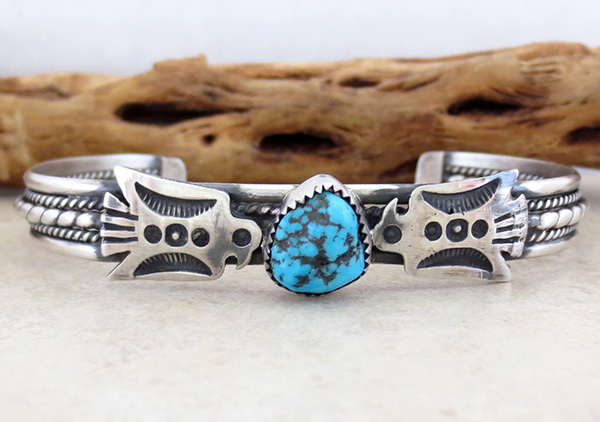Fred Harvey Style Turquoise & Sterling Silver Thunderbird Bracelet - 2085tag