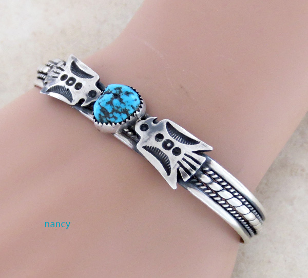 Image 1 of  Fred Harvey Style Turquoise & Sterling Silver Thunderbird Bracelet - 2085tag