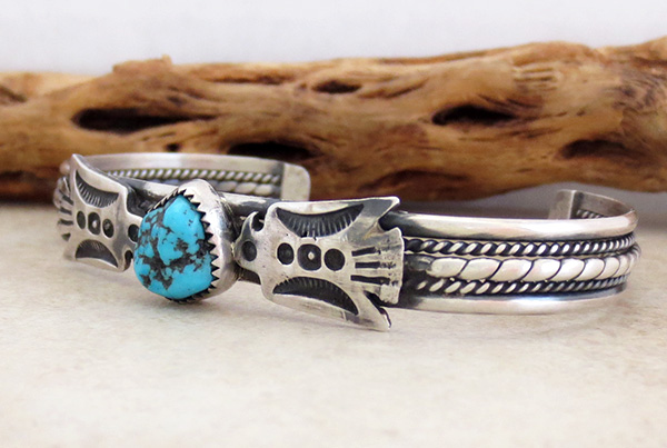 Image 3 of  Fred Harvey Style Turquoise & Sterling Silver Thunderbird Bracelet - 2085tag