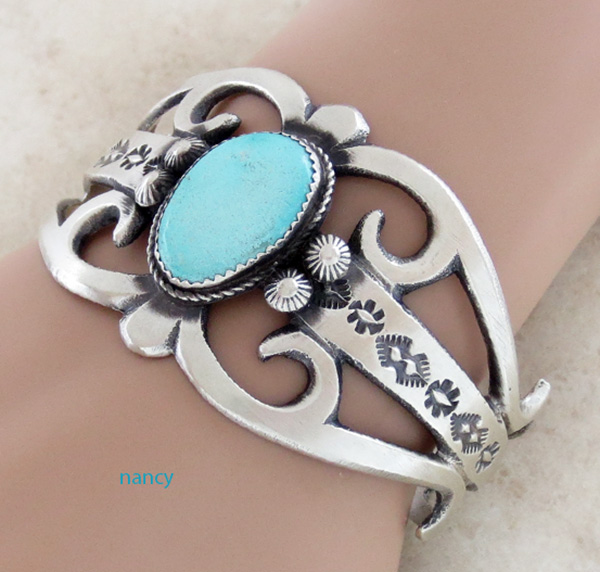 Image 0 of  Large Cast Sterling Silver & Turquoise Bracelet Navajo Made - 3627tag