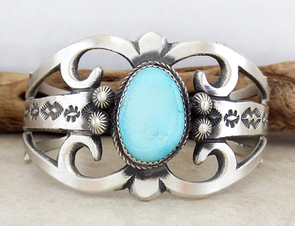 Image 1 of  Large Cast Sterling Silver & Turquoise Bracelet Navajo Made - 3627tag