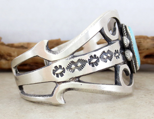 Image 2 of  Large Cast Sterling Silver & Turquoise Bracelet Navajo Made - 3627tag