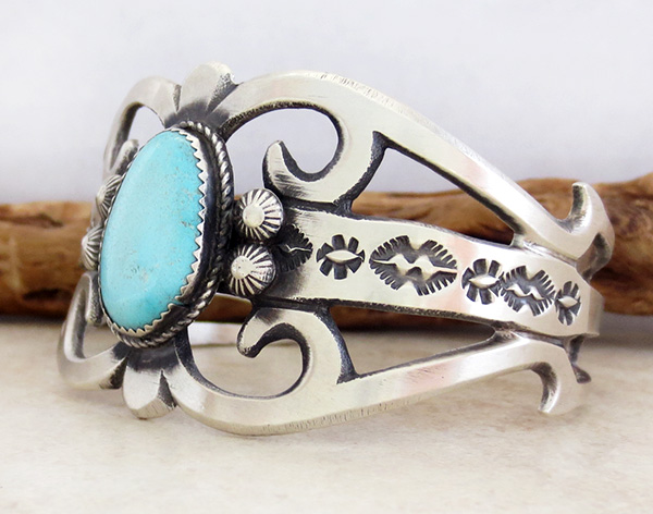 Image 3 of  Large Cast Sterling Silver & Turquoise Bracelet Navajo Made - 3627tag