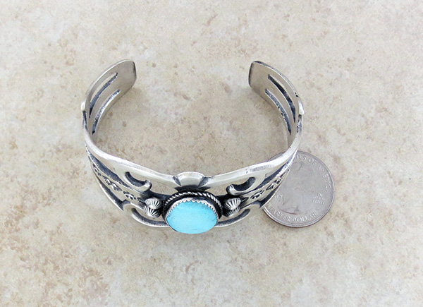 Image 4 of  Large Cast Sterling Silver & Turquoise Bracelet Navajo Made - 3627tag
