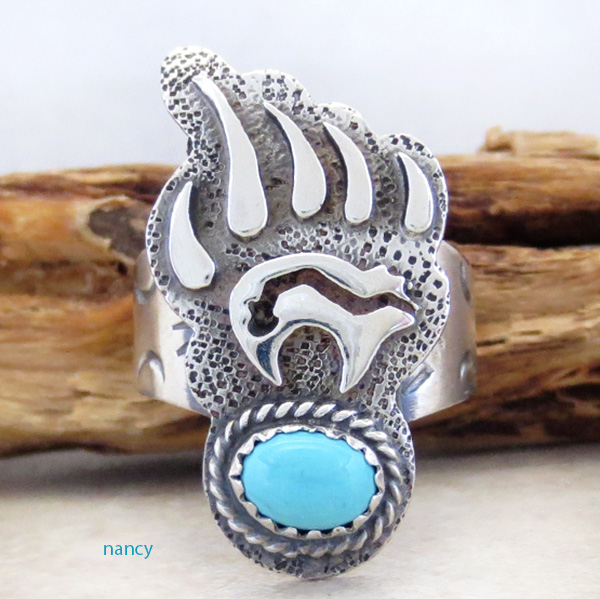 Turquoise & Sterling Silver Bear Ring Size 7.75 Navajo Made - 3805rb