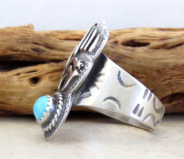 Image 1 of   Turquoise & Sterling Silver Bear Ring Size 7.75 Navajo Jewelry- 3805rb