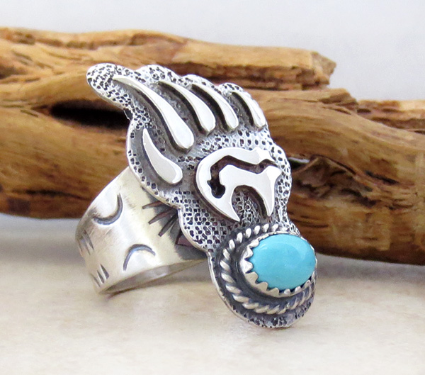 Image 2 of   Turquoise & Sterling Silver Bear Ring Size 7.75 Navajo Jewelry- 3805rb
