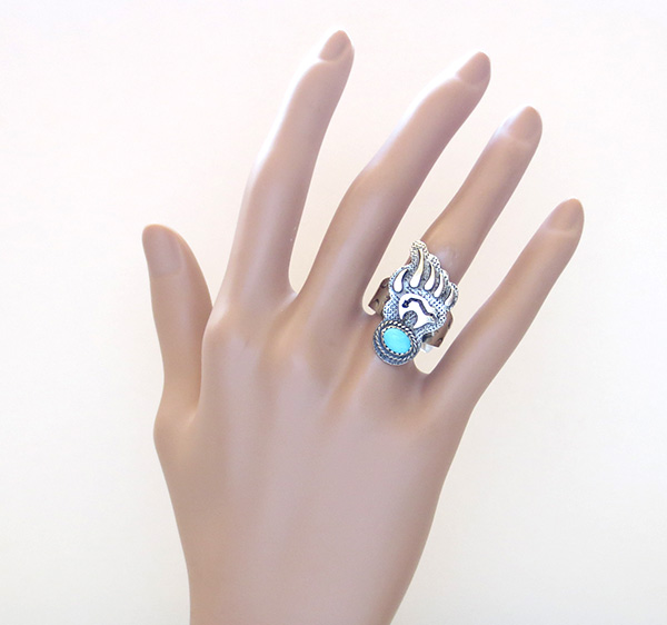 Image 5 of   Turquoise & Sterling Silver Bear Ring Size 7.75 Navajo Jewelry- 3805rb