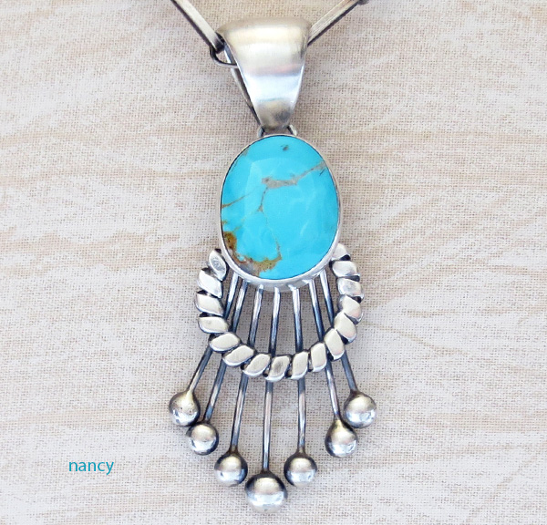 Large Old Style Turquoise & Sterling Silver Pendant Navajo Made  3738tag