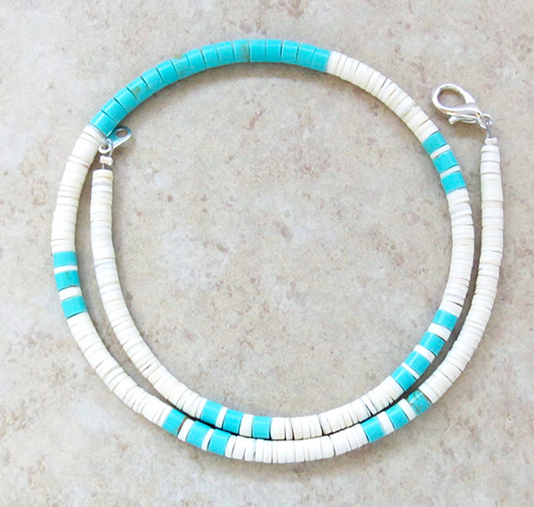 Turquoise White Shell Heishi Necklace Santo Domingo 16.5 - 3729rio