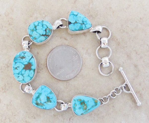 Turquoise & Sterliing Silver Link Toggle Bracelet Lyle Piaso Navajo - 3739sn