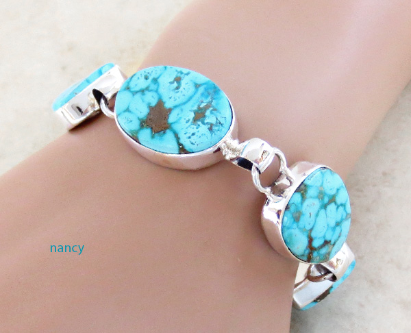 Image 1 of Turquoise & Sterliing Silver Link Toggle Bracelet Lyle Piaso Navajo - 3739sn