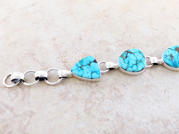 Image 2 of Turquoise & Sterliing Silver Link Toggle Bracelet Lyle Piaso Navajo - 3739sn