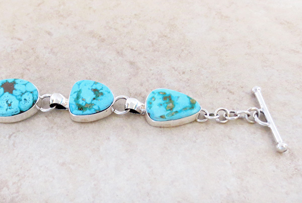 Image 3 of Turquoise & Sterliing Silver Link Toggle Bracelet Lyle Piaso Navajo - 3739sn