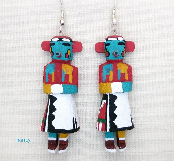 Image 0 of  Morning Singer Kachina Earrings Navajo Made - 3812pl