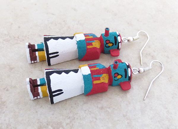 Image 1 of  Morning Singer Kachina Earrings Navajo Made - 3812pl