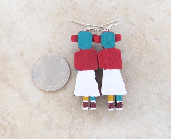 Image 2 of  Morning Singer Kachina Earrings Navajo Made - 3812pl