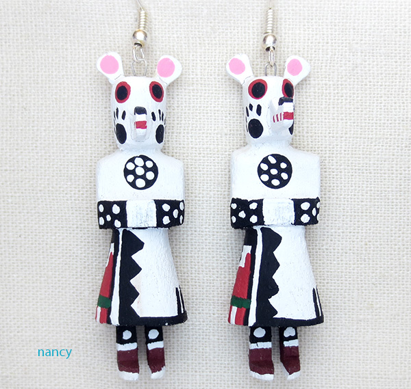 Wooden White Bear Kachina Earrings Loretta Multine Navajo - 3741pl