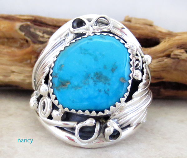 Large Turquoise & Sterling Silver Ring Size 11.75 Navajo Jewelry - 3745rb