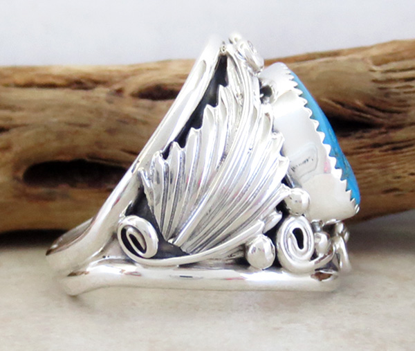 Image 1 of       Large Turquoise & Sterling Silver Ring Size 11.75 Navajo Jewelry - 3745rb