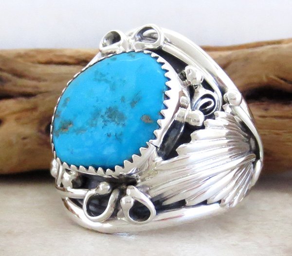 Image 2 of       Large Turquoise & Sterling Silver Ring Size 11.75 Navajo Jewelry - 3745rb