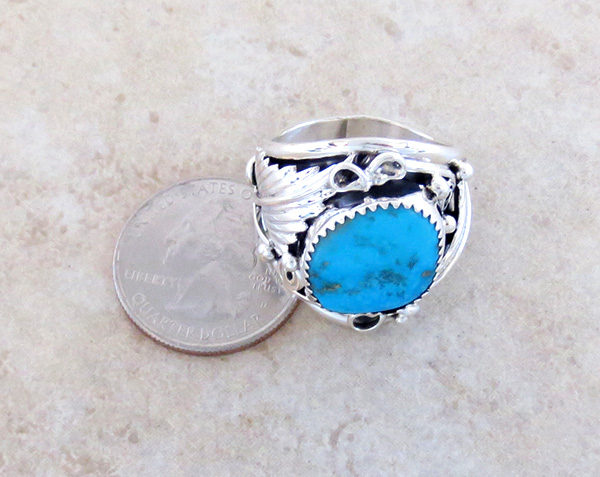 Image 3 of       Large Turquoise & Sterling Silver Ring Size 11.75 Navajo Jewelry - 3745rb