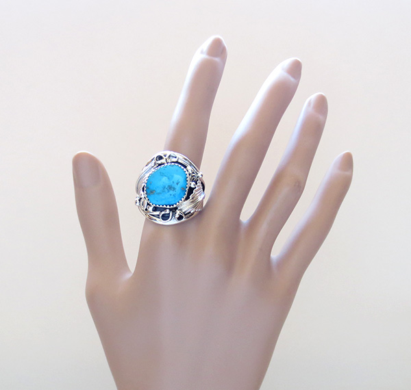 Image 5 of       Large Turquoise & Sterling Silver Ring Size 11.75 Navajo Jewelry - 3745rb