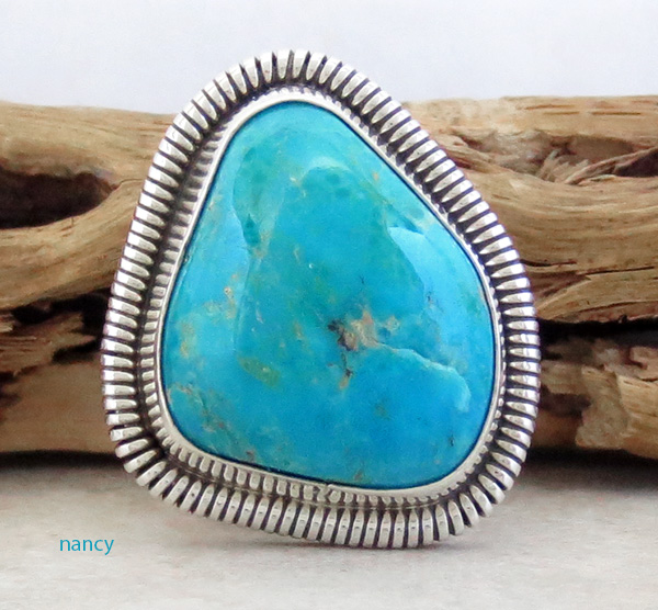 Image 0 of Turquoise & Sterling Silver Ring Wydell Billie Navajo Size 7 - 3814tag