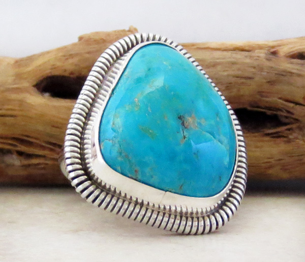 Image 2 of Turquoise & Sterling Silver Ring Wydell Billie Navajo Size 7 - 3814tag