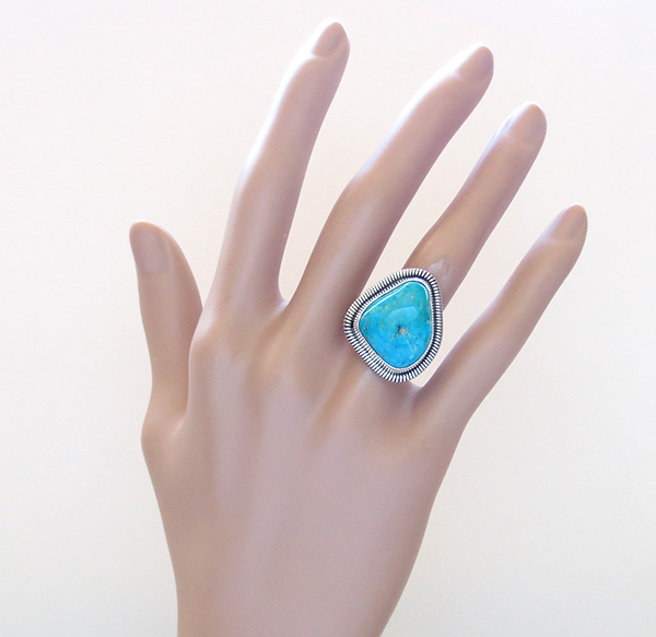 Image 5 of Turquoise & Sterling Silver Ring Wydell Billie Navajo Size 7 - 3814tag