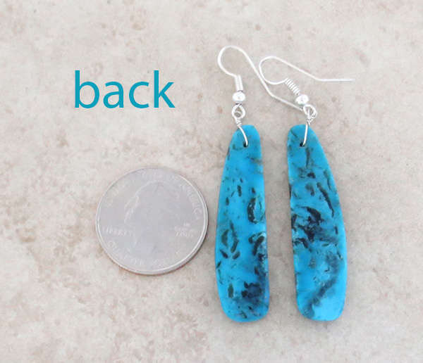 Image 2 of     Native American Jewelry Turquoise Slab Earrings Kewa - 3571rio