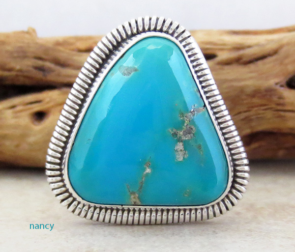 Image 0 of     Turquoise & Sterling Silver Ring Wydell Billie Navajo Size 8 - 3746tag
