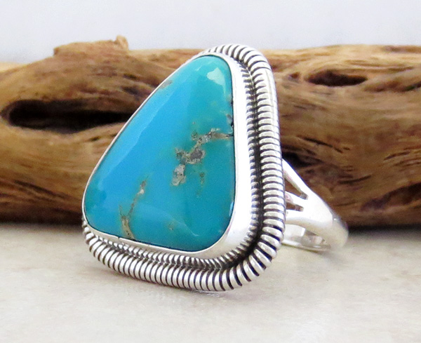 Image 2 of     Turquoise & Sterling Silver Ring Wydell Billie Navajo Size 8 - 3746tag