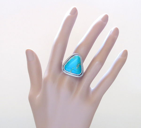 Image 5 of     Turquoise & Sterling Silver Ring Wydell Billie Navajo Size 8 - 3746tag