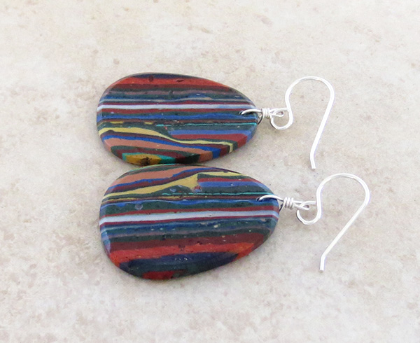 Image 1 of  Large Rainbow Calsilica Slab Earrings Native American Made - 1729pl