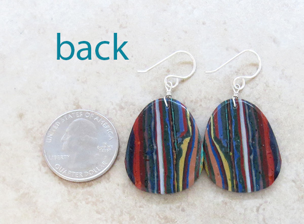 Image 2 of  Large Rainbow Calsilica Slab Earrings Native American Made - 1729pl