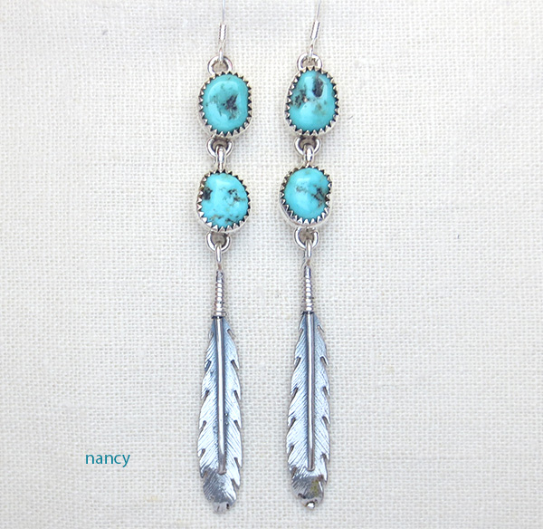Long Turquoise & Sterling Silver Feather Earrings Navajo - 1974tag