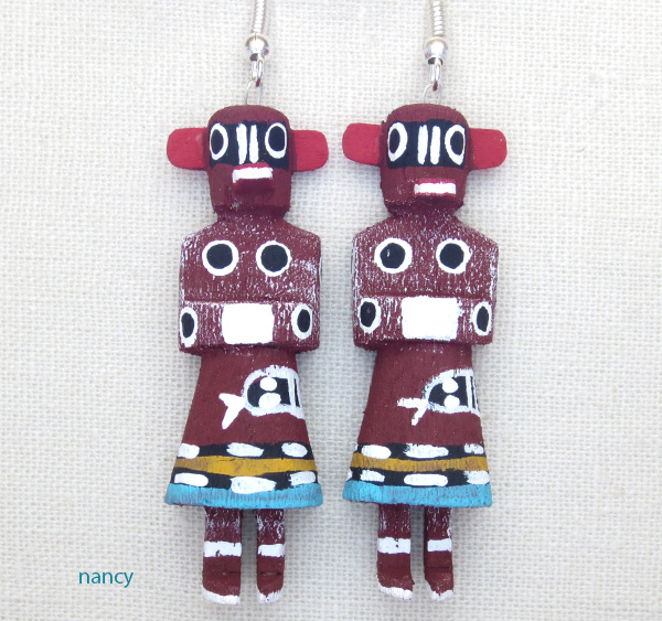 Bear Kachina Earrings Navajo Made - 2105pl