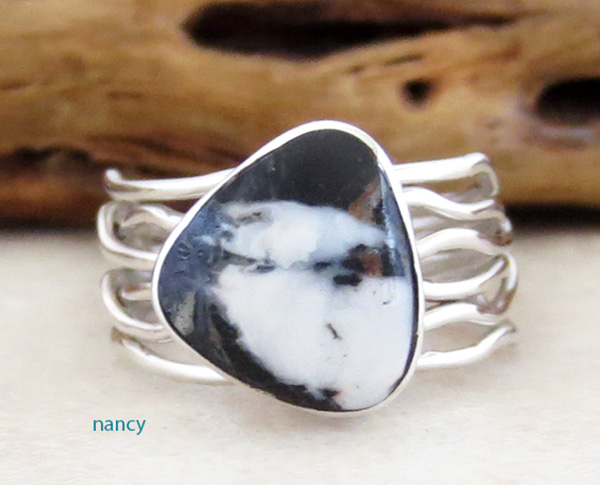 Navajo White Buffalo Stone & Sterling Silver Ring Size 7 - 3629sn
