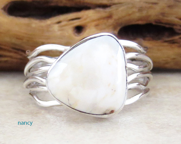 White Buffalo Stone & Sterling Silver Ring Size 8 Native American- 1625sn