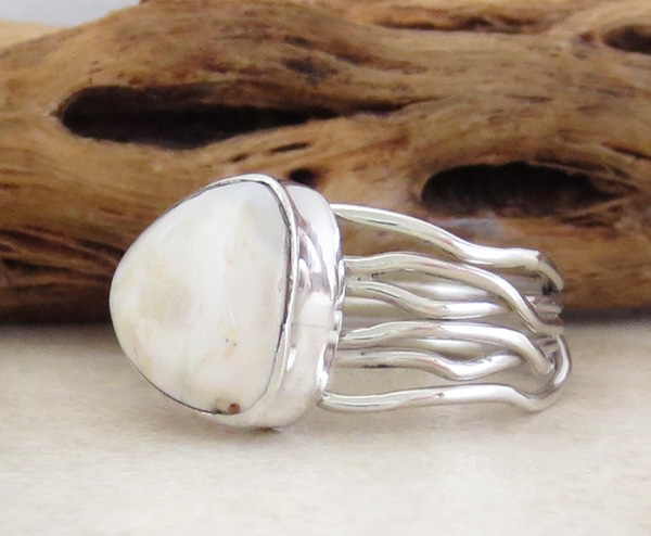 Image 2 of        White Buffalo Stone & Sterling Silver Ring Size 8 Native American- 1625sn