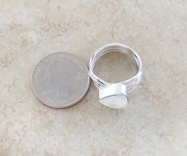 Image 3 of        White Buffalo Stone & Sterling Silver Ring Size 8 Native American- 1625sn