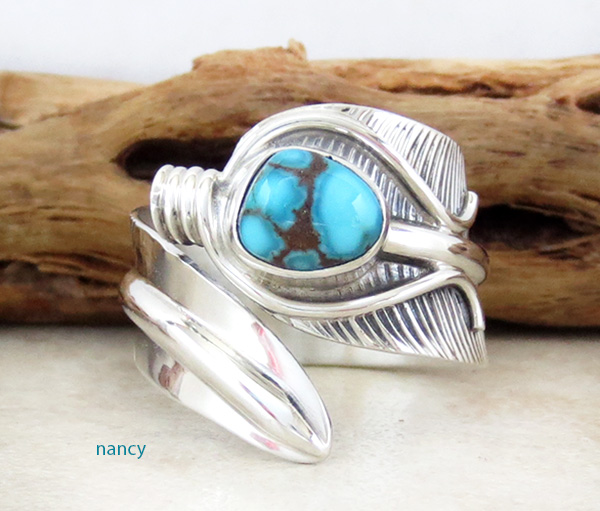 Apache Blue Turquoise & Sterling Silver Feather Ring Size 9.5 - 3304sn