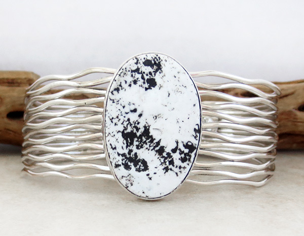 Image 0 of White Buffalo Stone & Sterling Silver Bracelet Murpgy Platero - 3749sn