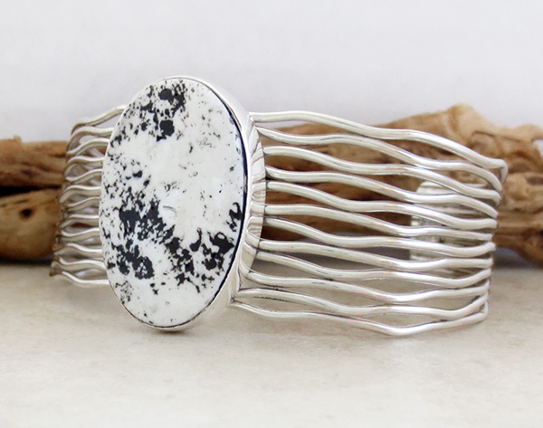 Image 2 of White Buffalo Stone & Sterling Silver Bracelet Murpgy Platero - 3749sn