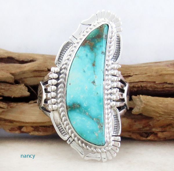Turquoise Mountain & Sterling Silver Ring Size 9.5 Bennie Ration - 3296br