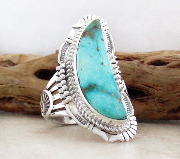 Image 2 of Turquoise Mountain & Sterling Silver Ring Size 9.5 Bennie Ration - 3296br