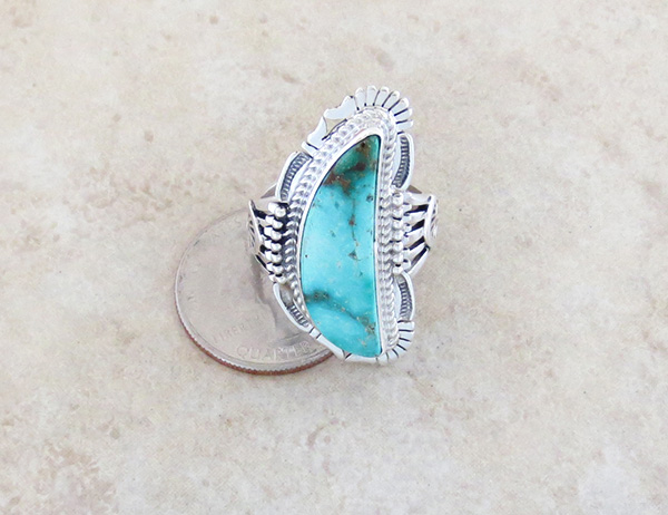 Image 3 of Turquoise Mountain & Sterling Silver Ring Size 9.5 Bennie Ration - 3296br