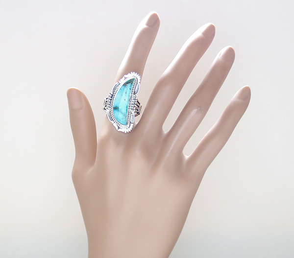 Image 5 of Turquoise Mountain & Sterling Silver Ring Size 9.5 Bennie Ration - 3296br