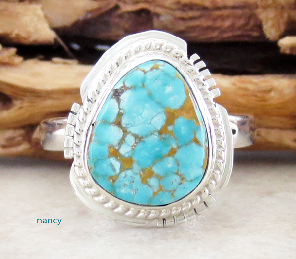 Small Turquoise & Sterling Silver Ring Size 9 Native American - 3816sn
